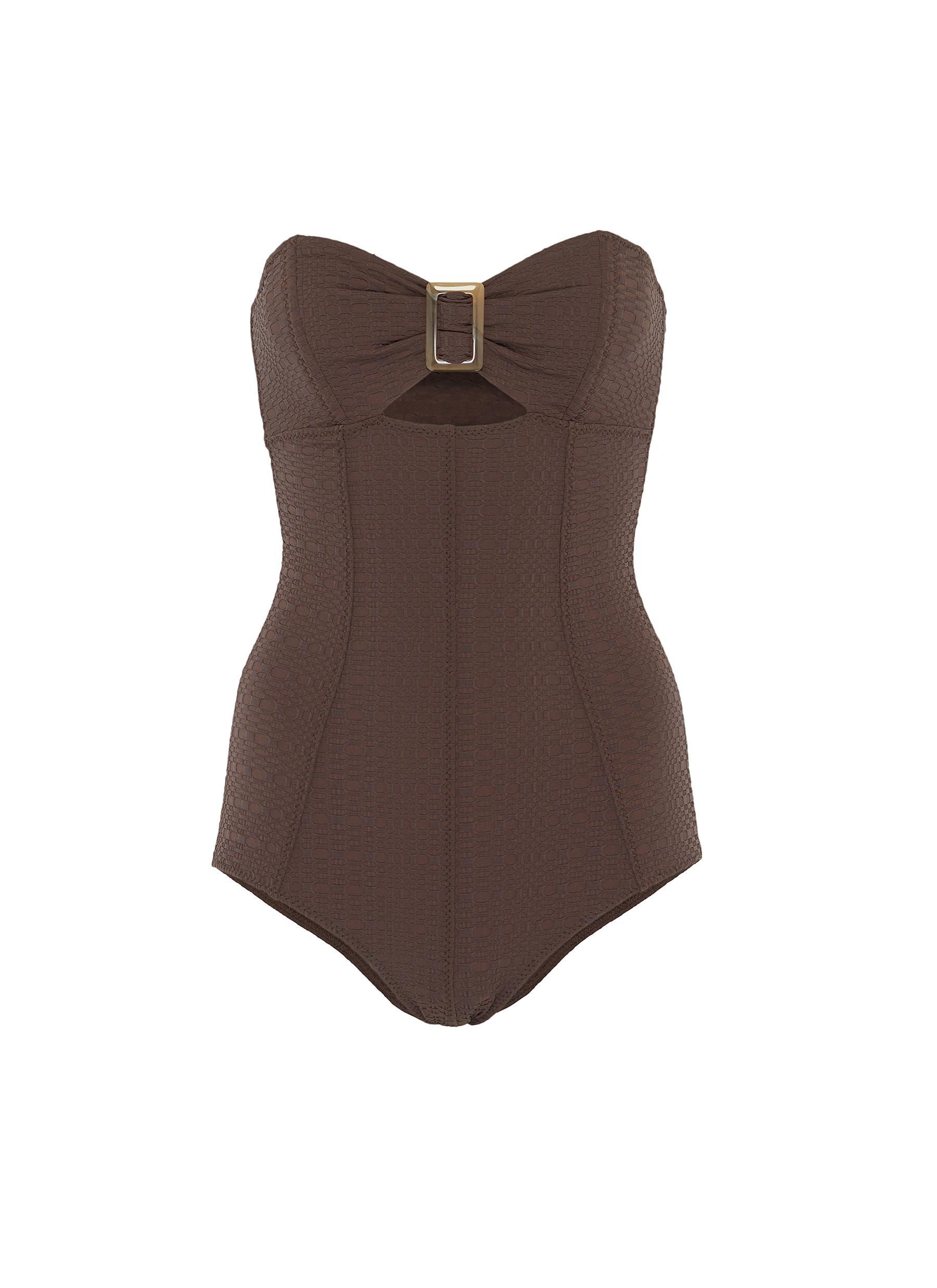 Buy Lisa Marie Fernandez Swimwear Buckled bandeau maillot