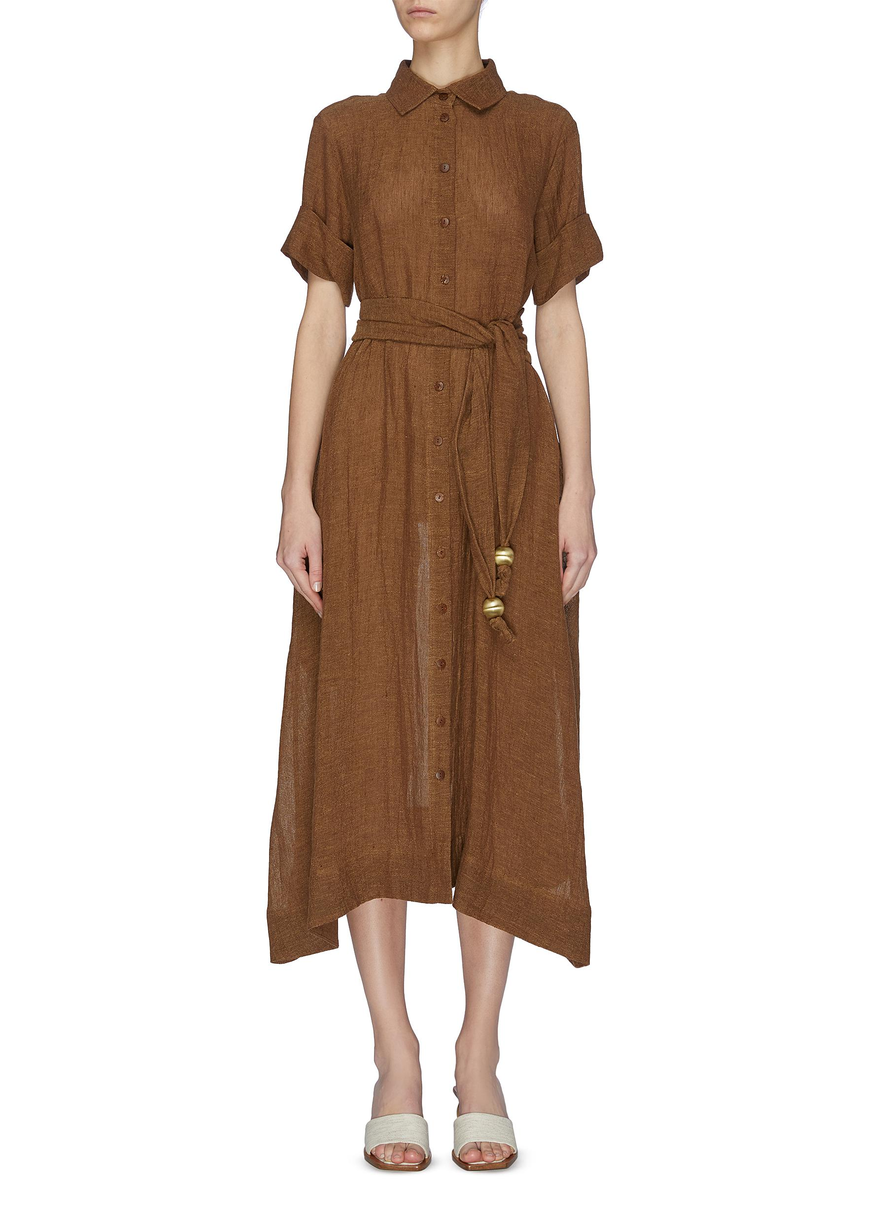 shop Lisa Marie Fernandez Sheer belted shirt dress online