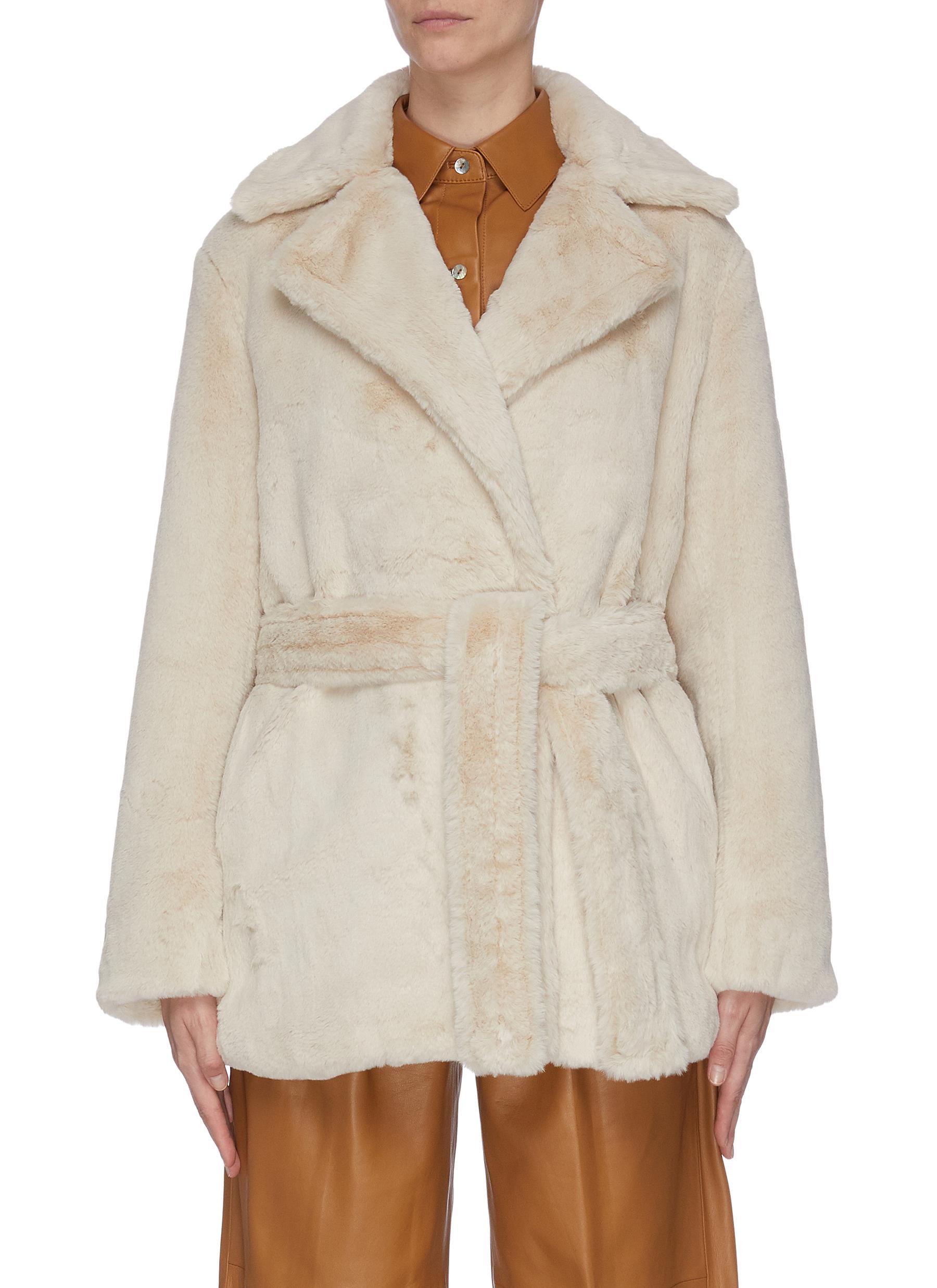 shop Vince Belted faux fur coat online
