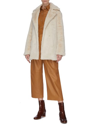 Figure View - Click To Enlarge - VINCE - Belted faux fur coat