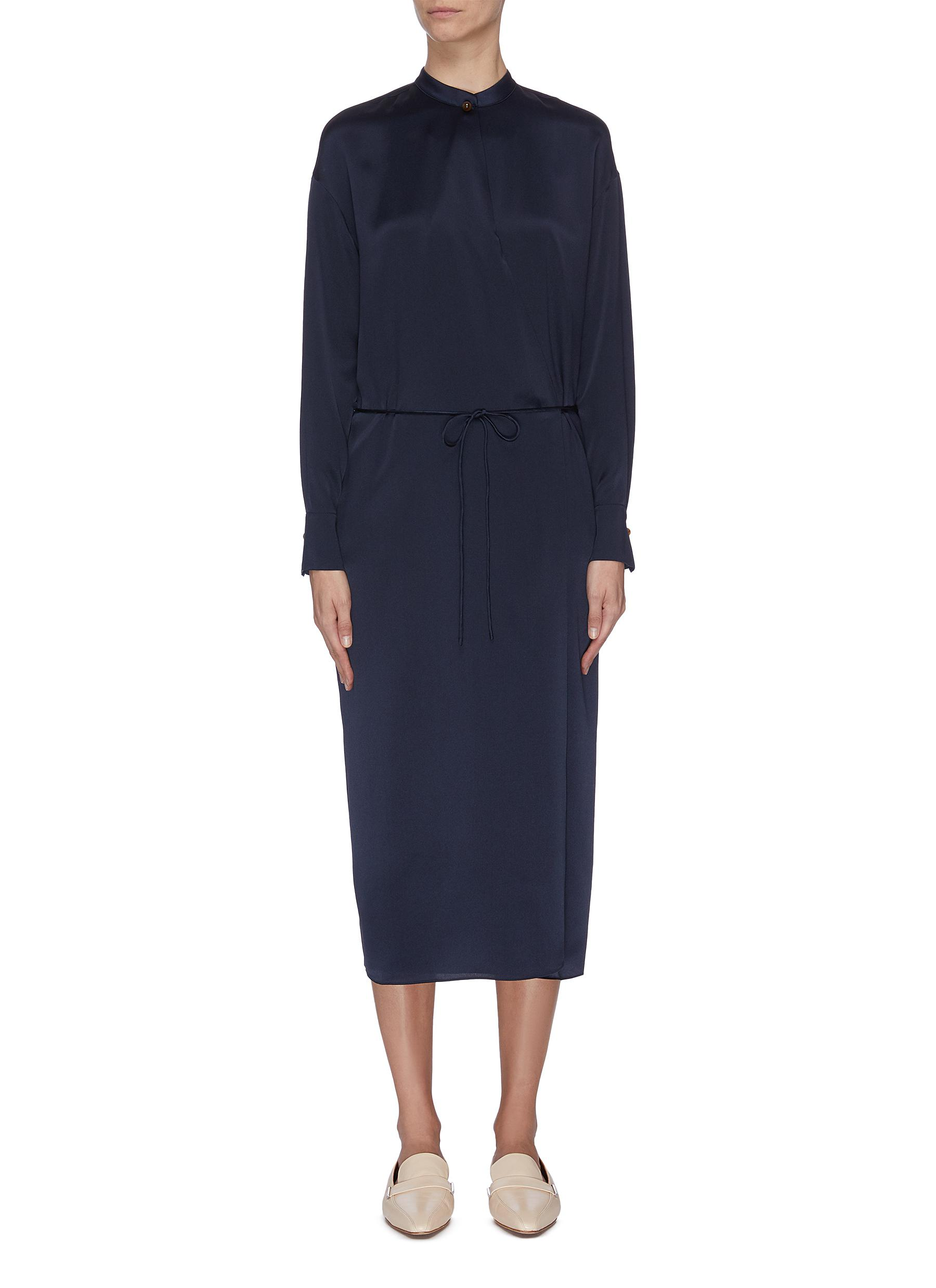 shop Vince Mandarin collar string tie silk satin dress online