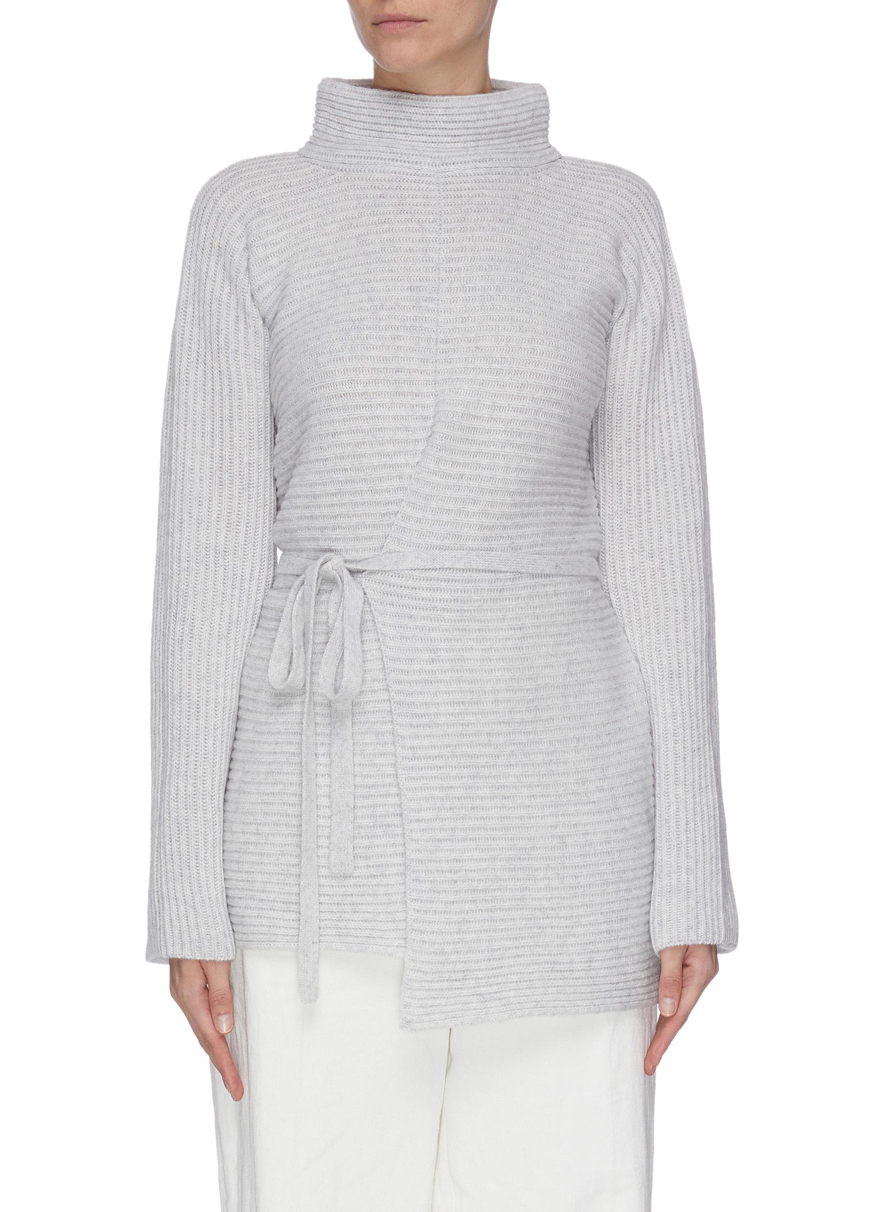 shop Vince Asymmetric waist tie mock neck rib knit cashmere wool blend sweater online