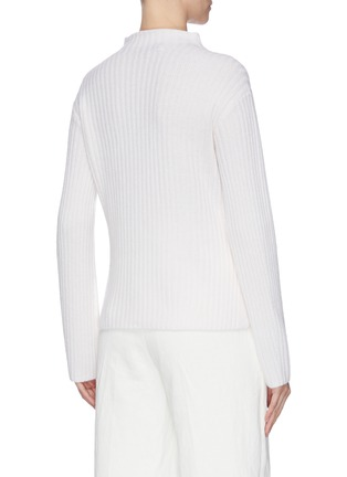 Back View - Click To Enlarge - VINCE - Raglan mock neck rib knit sweater