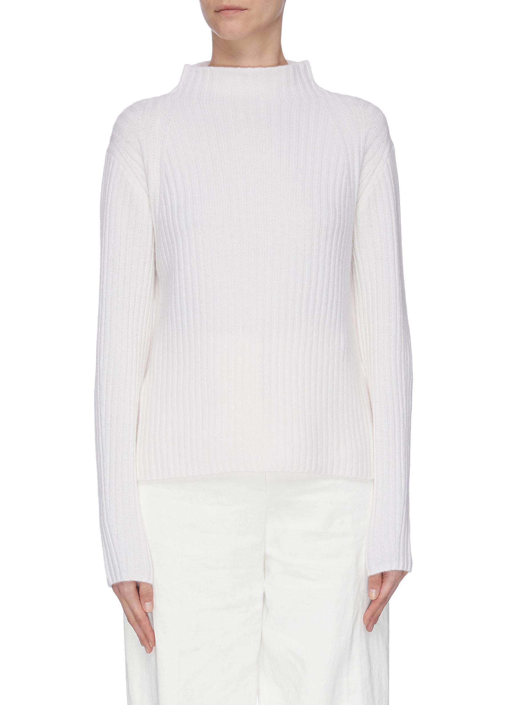 shop Vince Raglan mock neck rib knit sweater online
