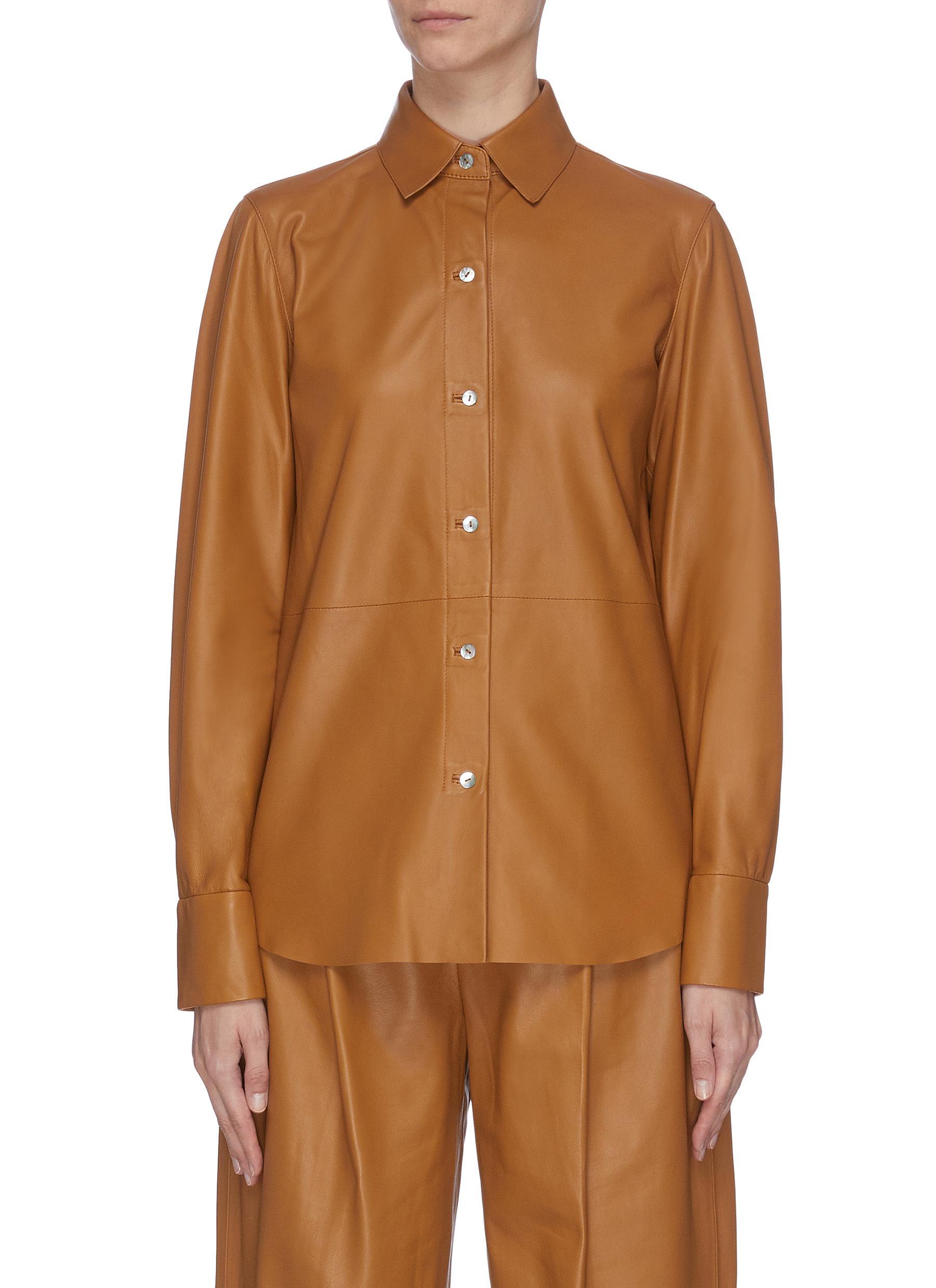 shop Vince Lambskin leather shirt online