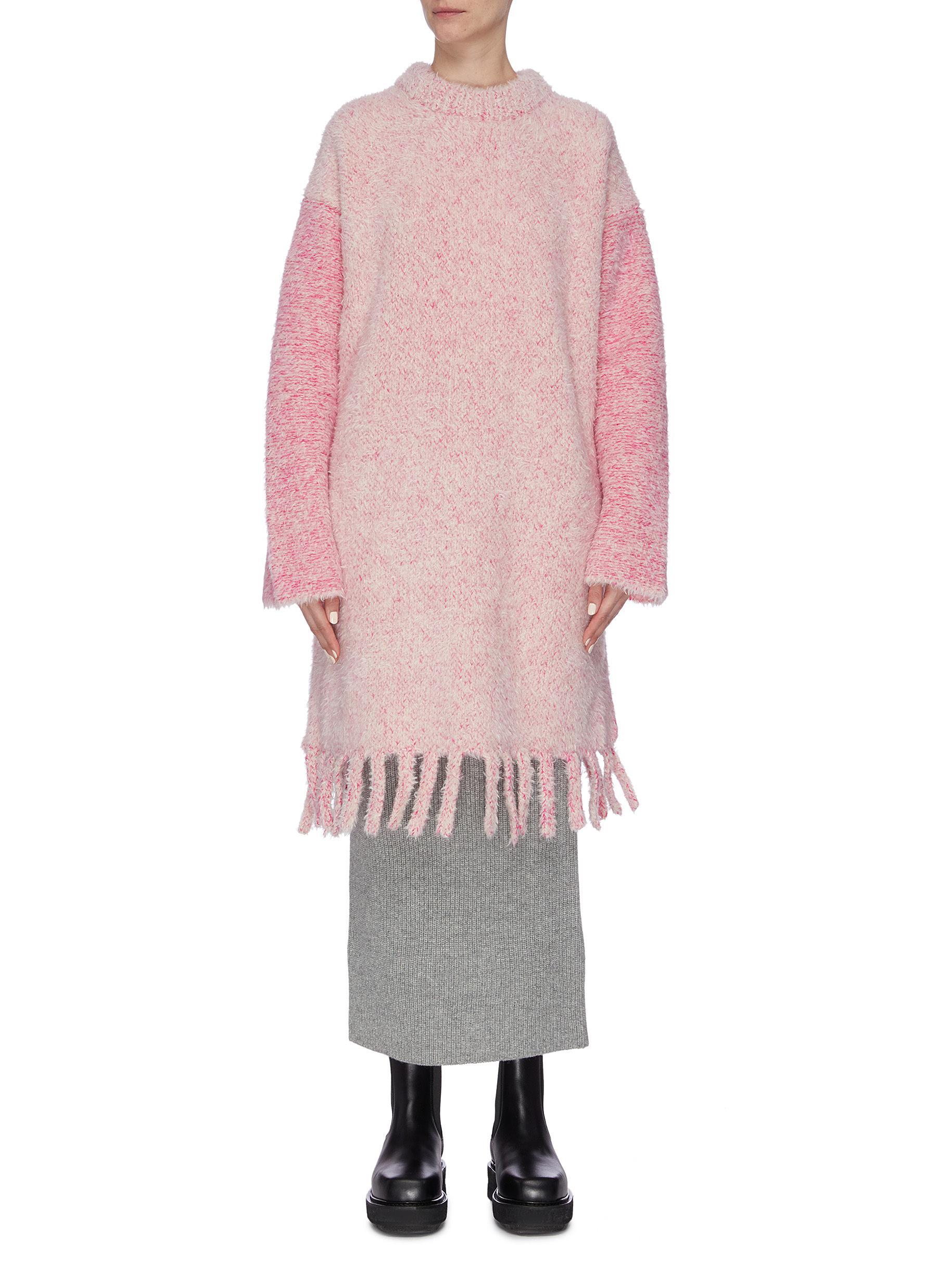 Colourblock sleeve tassel hem oversized sweater by Short Sentence