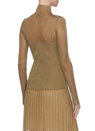Back View - Click To Enlarge - VINCE - Metallic ribbed mock neck