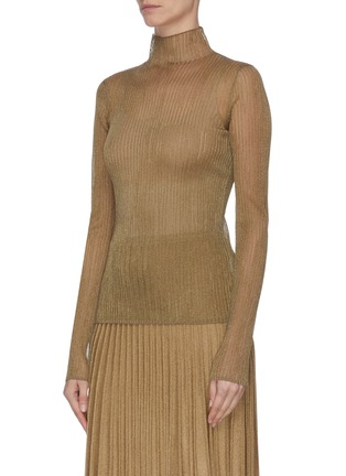 Front View - Click To Enlarge - VINCE - Metallic ribbed mock neck
