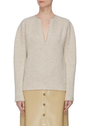 Main View - Click To Enlarge - VINCE - Split neck cashmere wool blend felt sweater