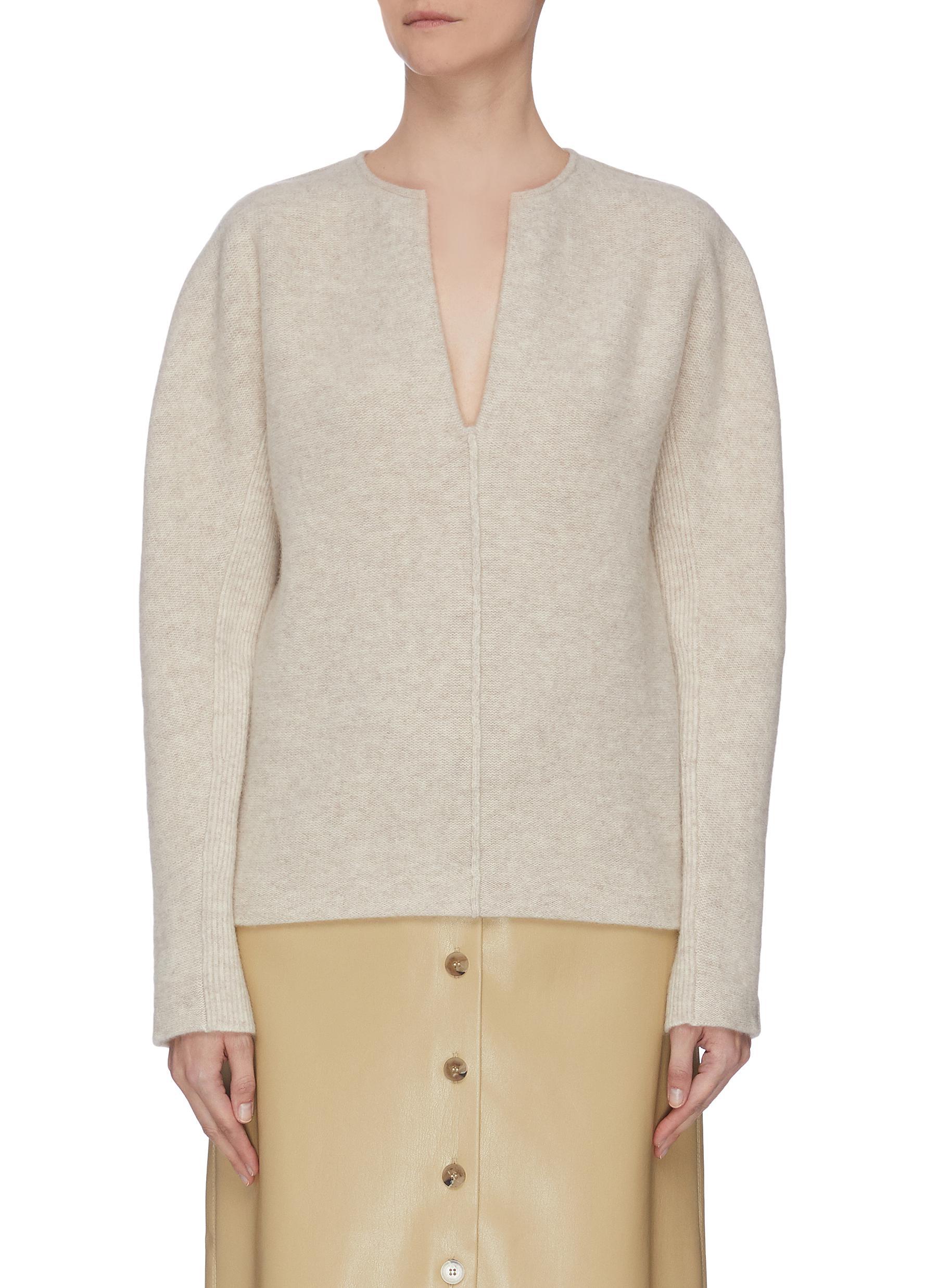 shop Vince Split neck cashmere wool blend felt sweater online