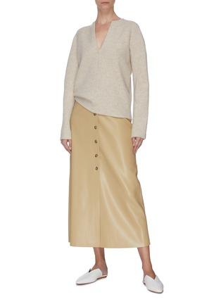 Figure View - Click To Enlarge - VINCE - Split neck cashmere wool blend felt sweater