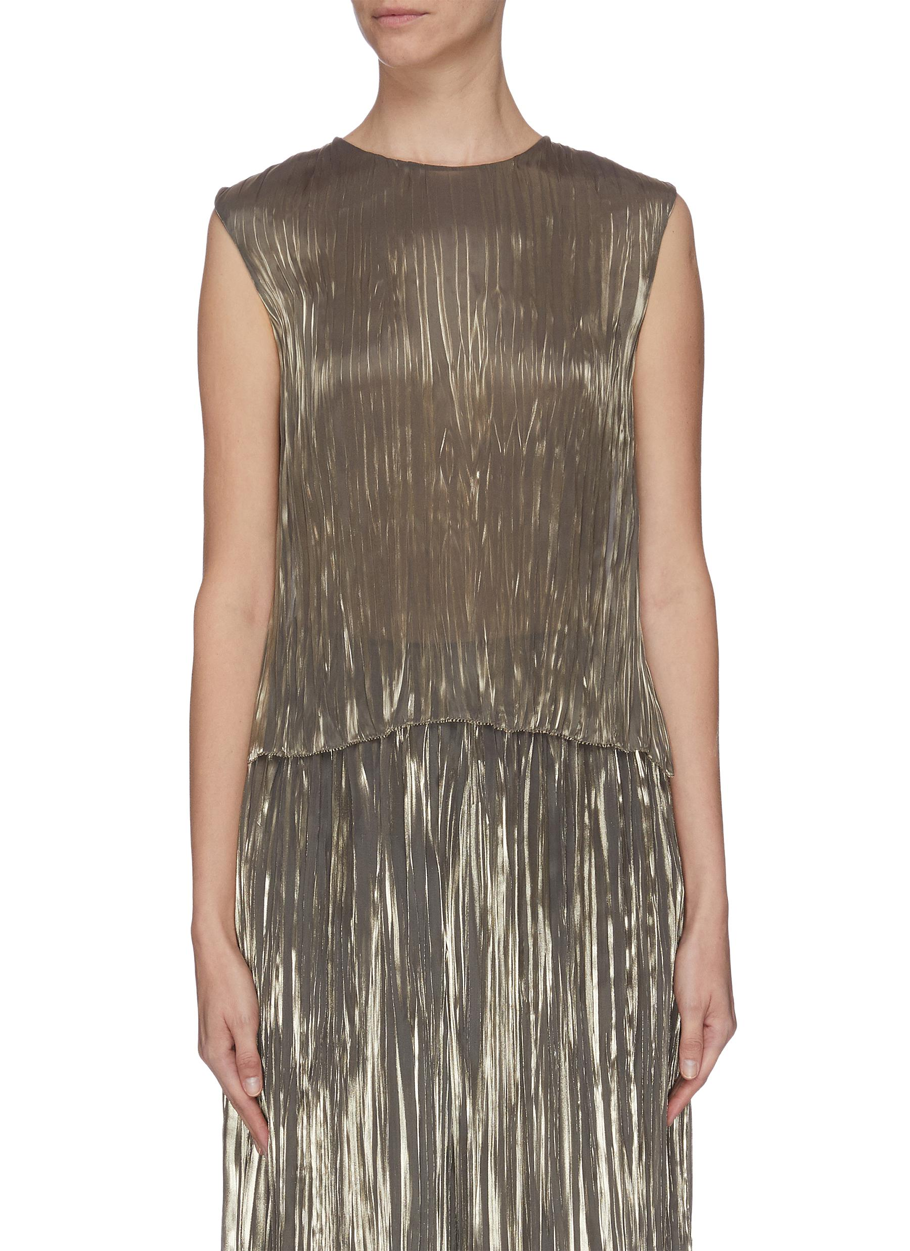 shop Vince Iridescent pleated shell top online