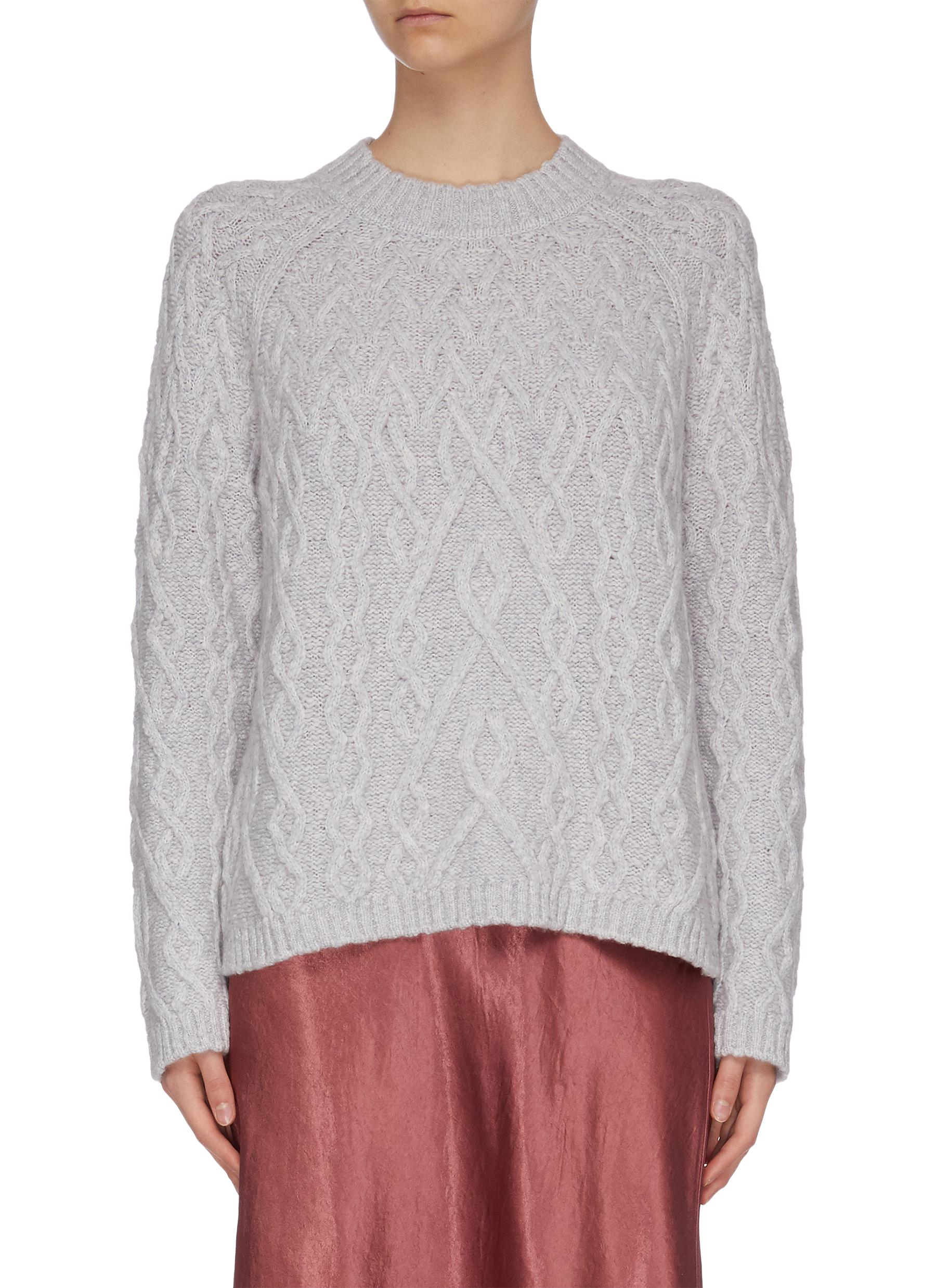 Buy Vince Knitwear Crew neck cable knit cashmere sweater