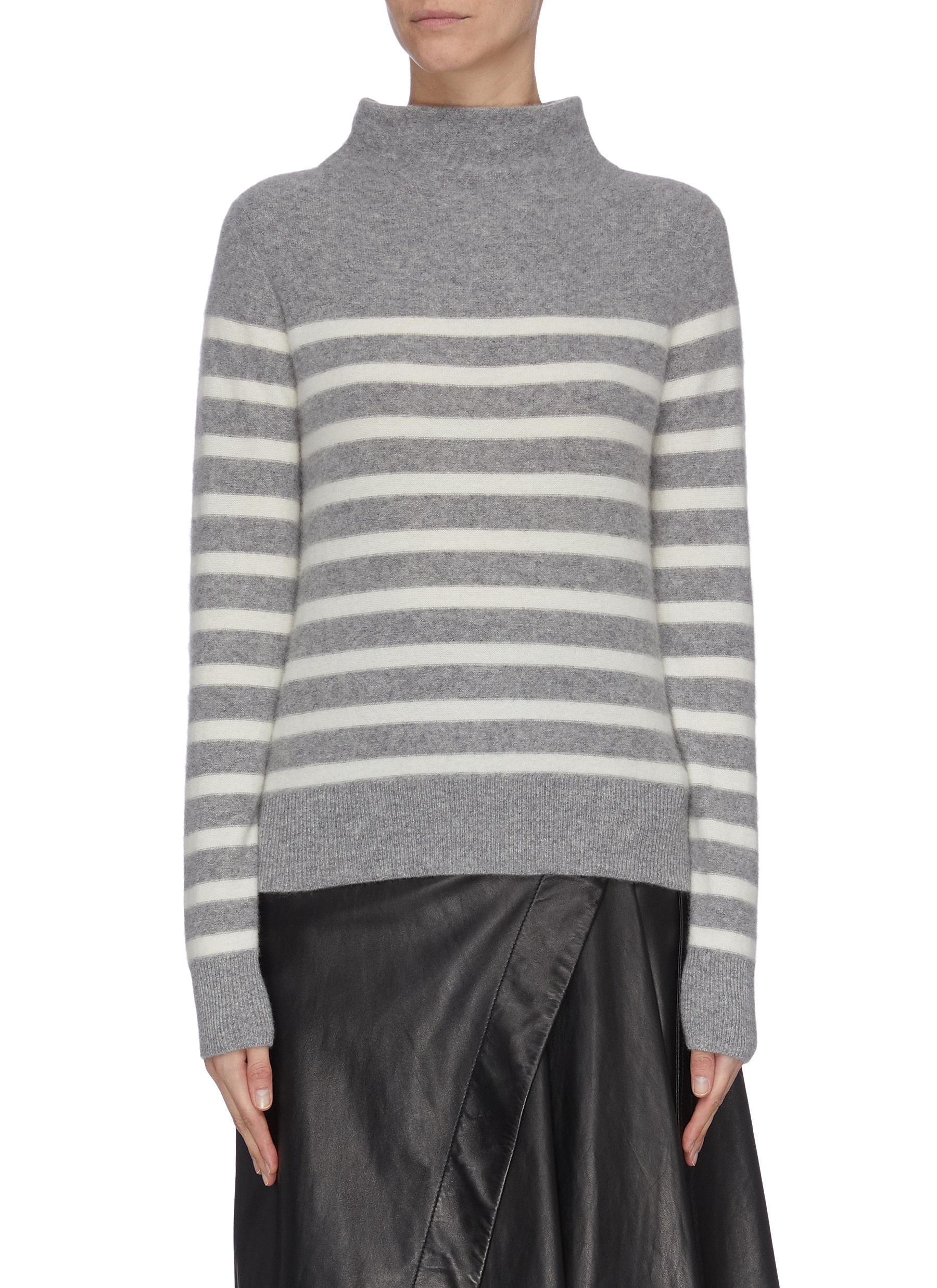 Buy Vince Knitwear 'Brenton' stripe cashmere turtleneck sweater