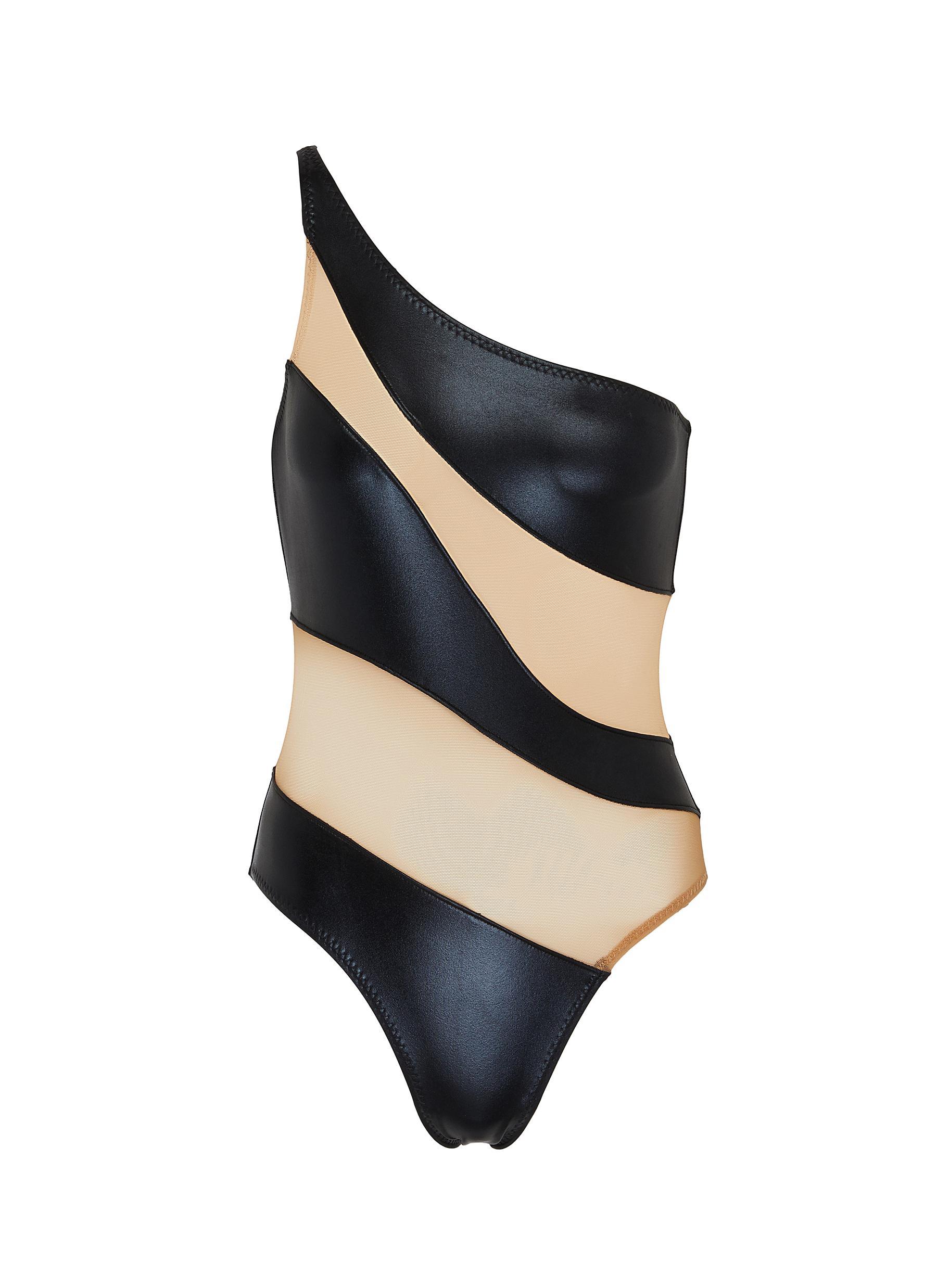 shop Norma Kamali Mesh panel leather one-piece swimsuit online