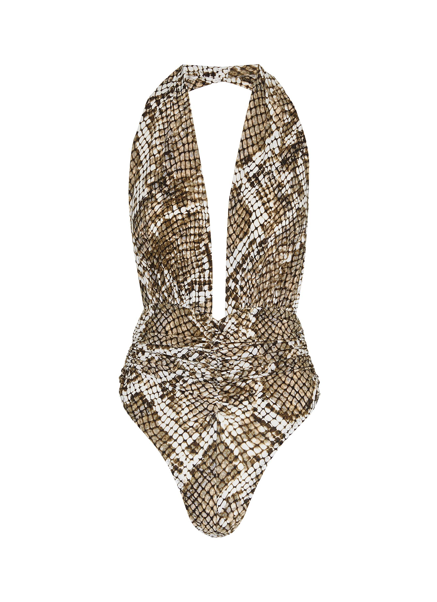 shop Norma Kamali 'Marissa' snake print one-piece swimsuit online