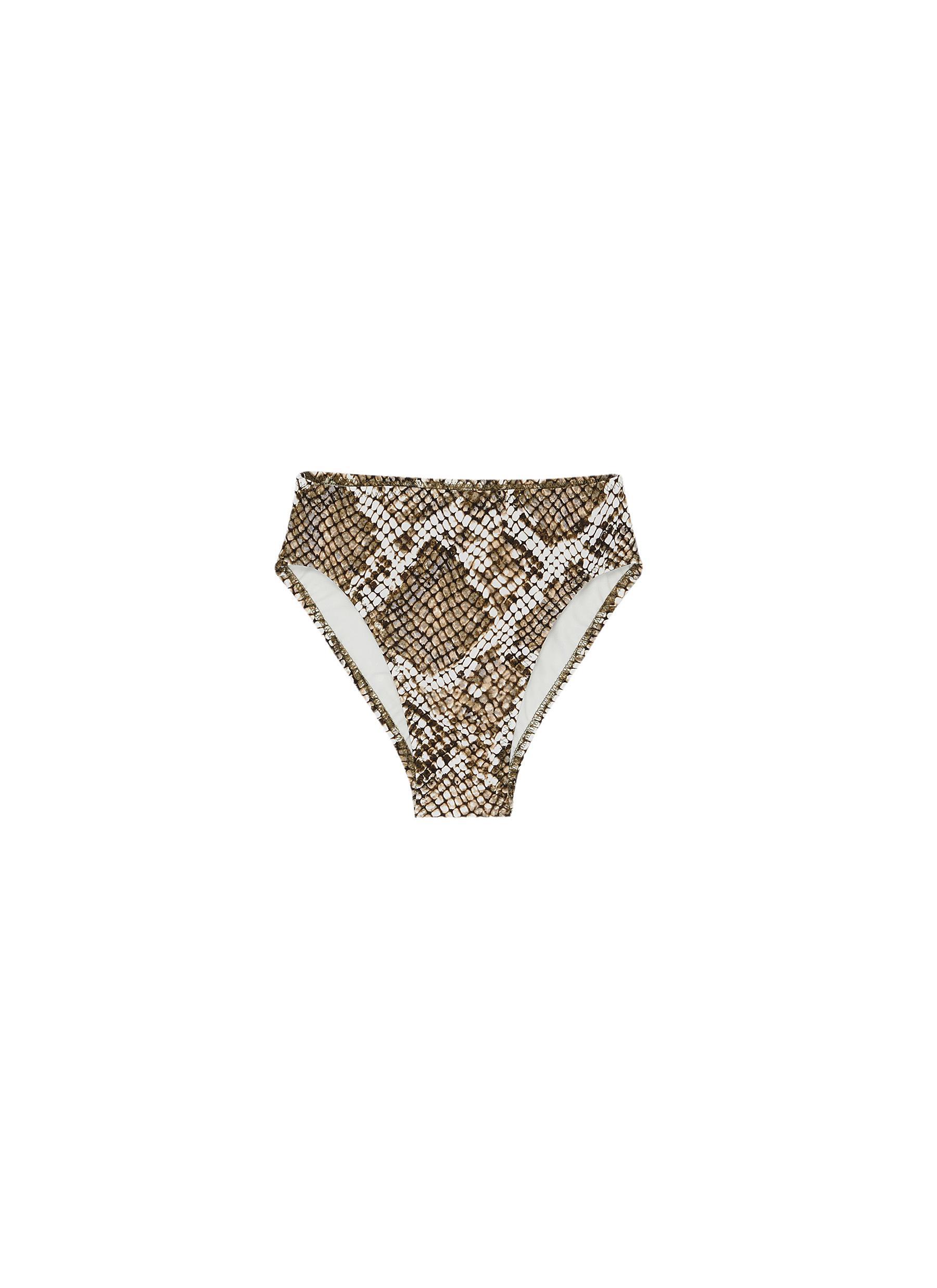 shop Norma Kamali Snake print high waisted bikini bottoms online