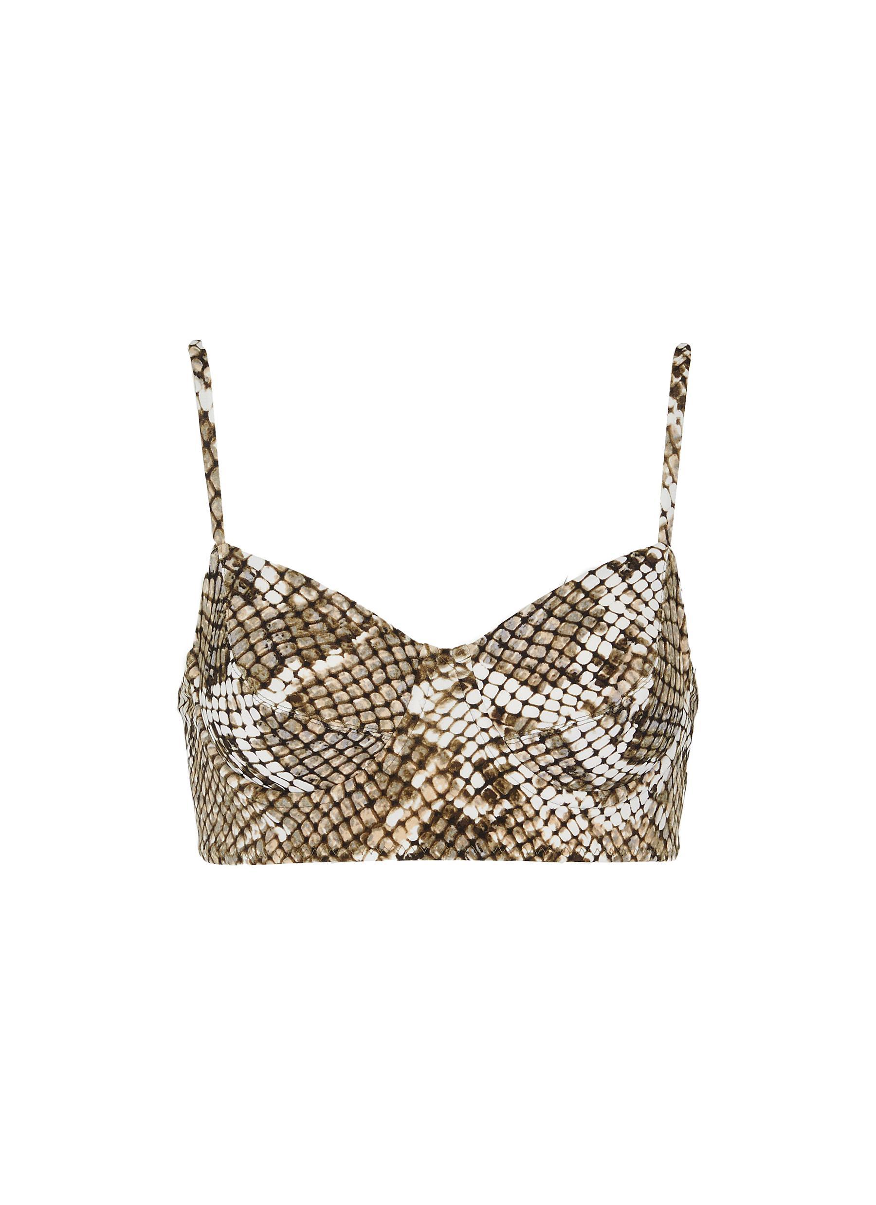 shop Norma Kamali Snake print underwire bikini top online