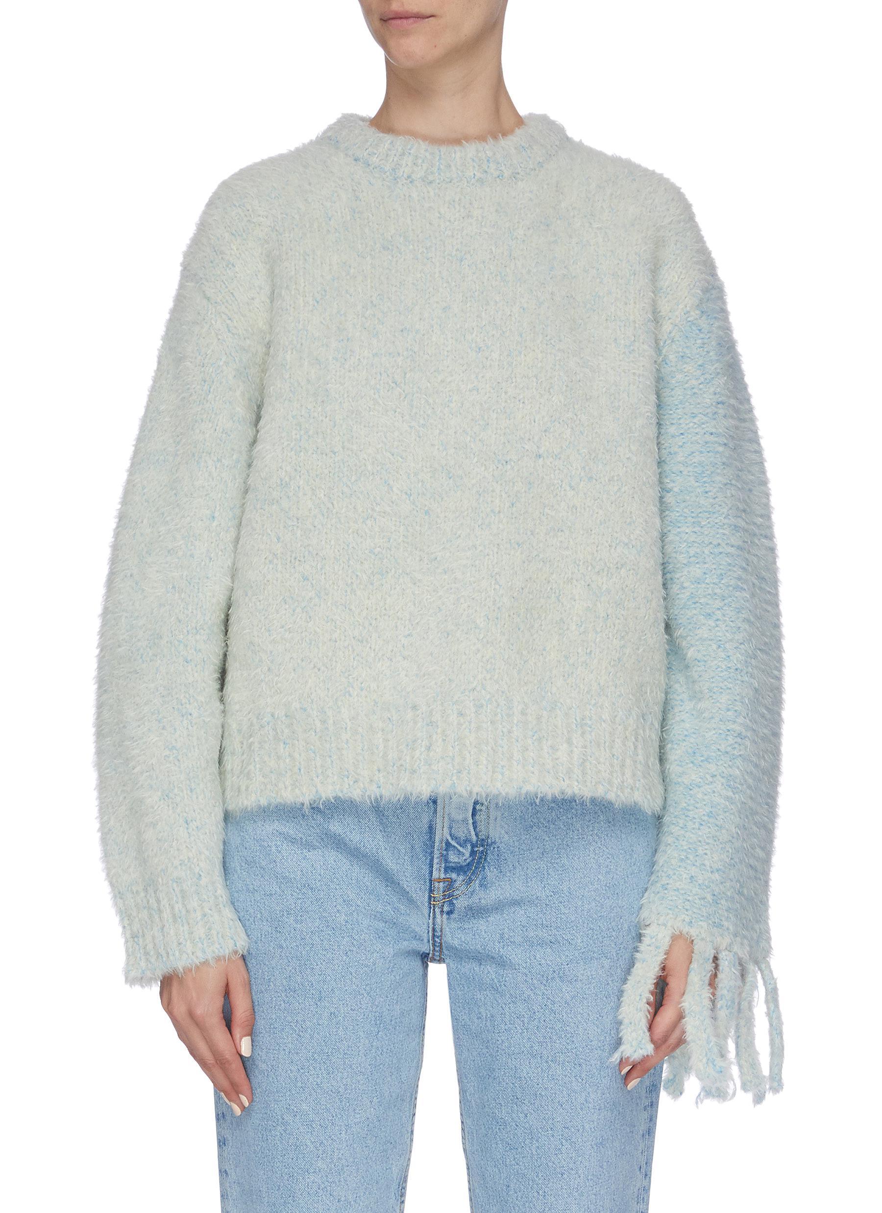 Colourblock sleeve tassel cuff sweater by Short Sentence
