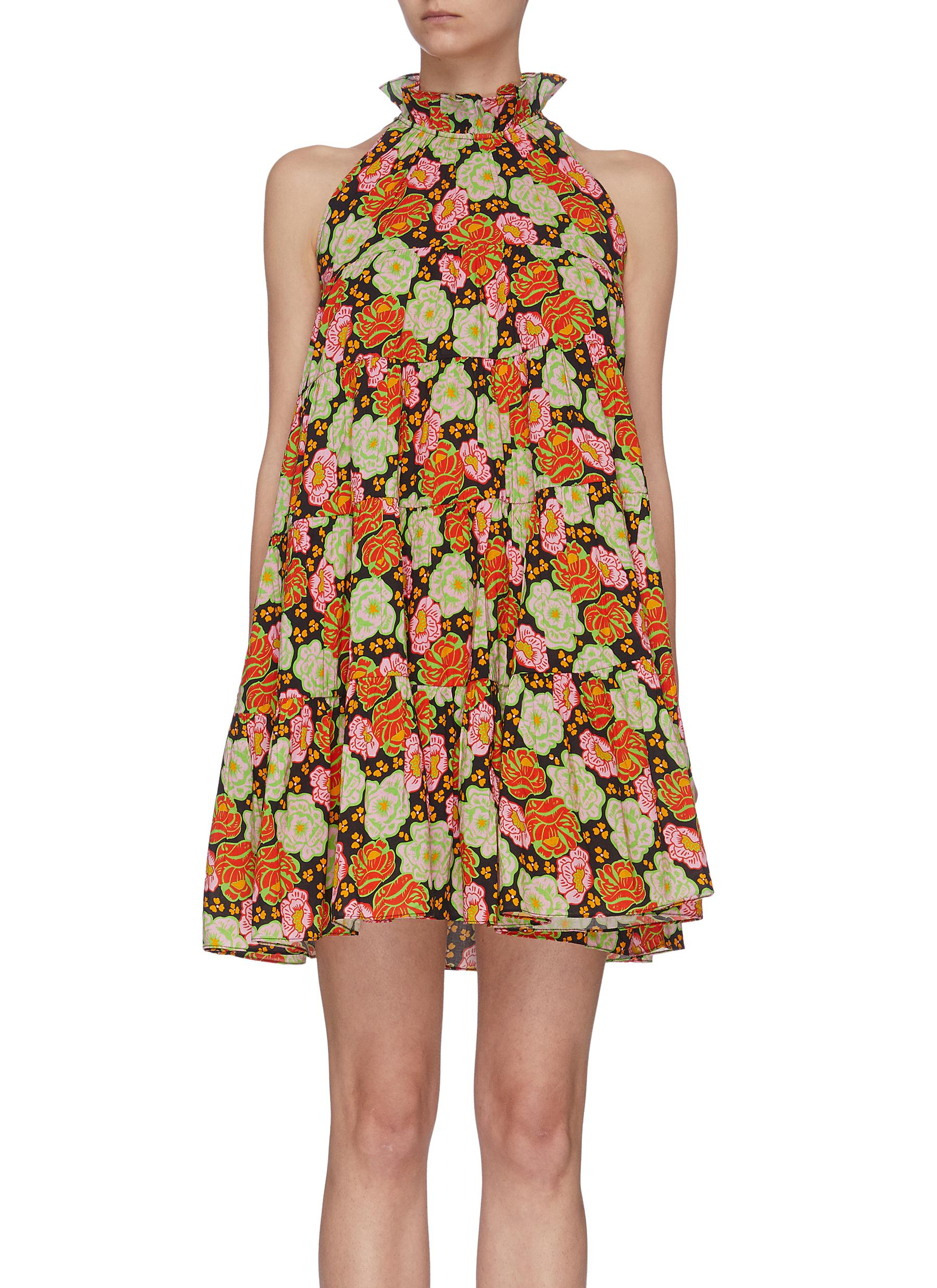 shop Rhode Resort 'Billy' floral print ruffle halter neck dress online