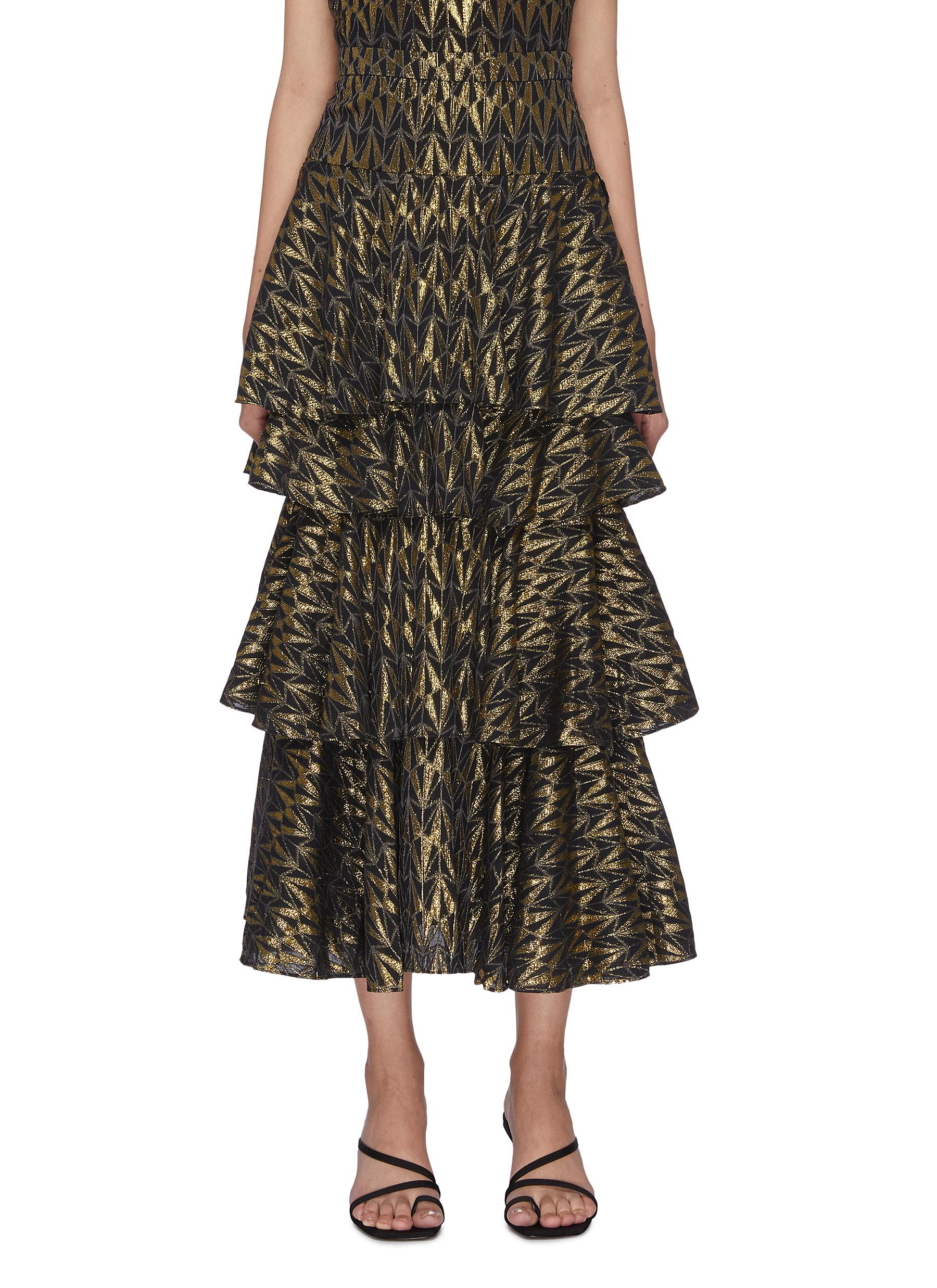 shop Rhode Resort 'Anita' lurex tiered maxi skirt online