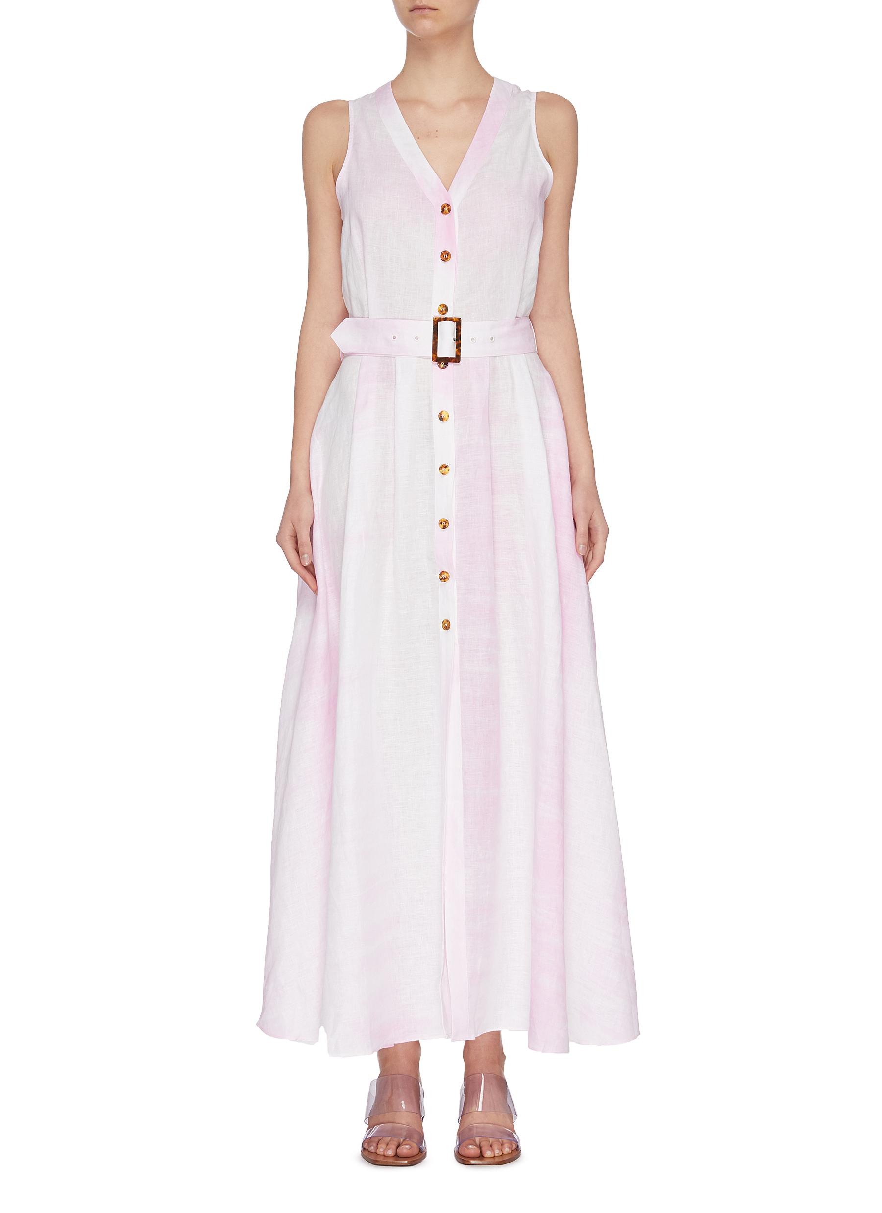 shop Solid & Striped Belted tie dye linen midi dress online