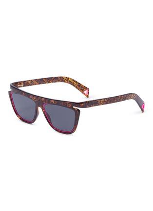 Main View - Click To Enlarge - FENDI - Acetate frame monogram contrast rim cat eye sunglasses