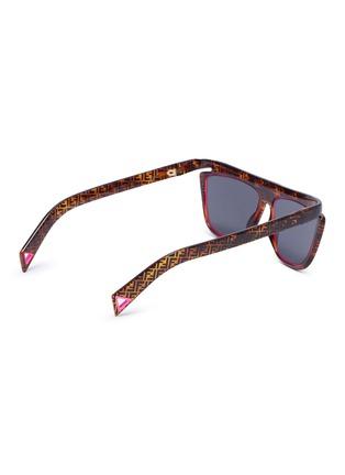 Figure View - Click To Enlarge - FENDI - Acetate frame monogram contrast rim cat eye sunglasses