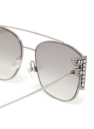 Detail View - Click To Enlarge - FENDI - Embellished F logo double bridge metal frame aviator sunglasses