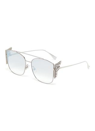 Main View - Click To Enlarge - FENDI - Embellished F logo double bridge metal frame aviator sunglasses