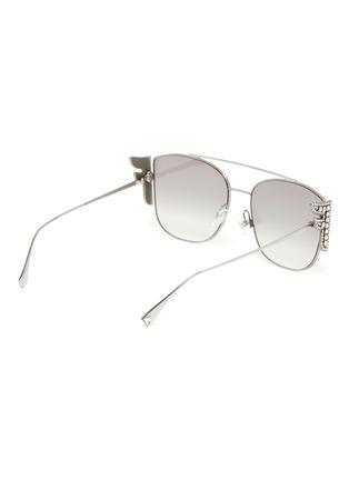 Figure View - Click To Enlarge - FENDI - Embellished F logo double bridge metal frame aviator sunglasses