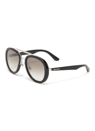Main View - Click To Enlarge - MIU MIU - Embellished bridge acetate frame sunglasses