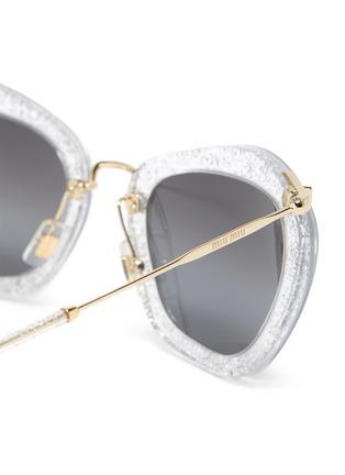 Detail View - Click To Enlarge - MIU MIU - Transparent Acetate Frame Metal Sunglasses