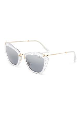 Main View - Click To Enlarge - MIU MIU - Transparent Acetate Frame Metal Sunglasses
