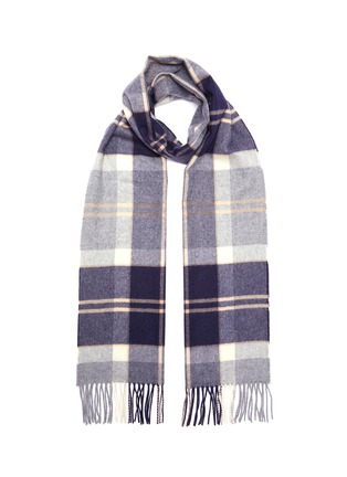 Main View - Click To Enlarge - JOHNSTONS OF ELGIN - Tartan plaid fringed cashmere scarf