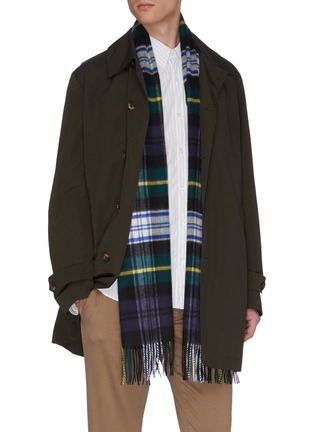 Figure View - Click To Enlarge - JOHNSTONS OF ELGIN - Tartan plaid fringed cashmere scarf