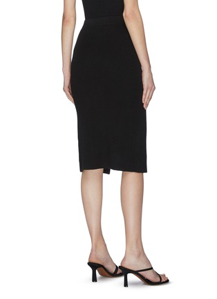 Back View - Click To Enlarge - CRUSH COLLECTION - Asymmetric front slit wrap rib skirt