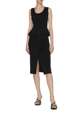 Figure View - Click To Enlarge - CRUSH COLLECTION - Asymmetric front slit wrap rib skirt