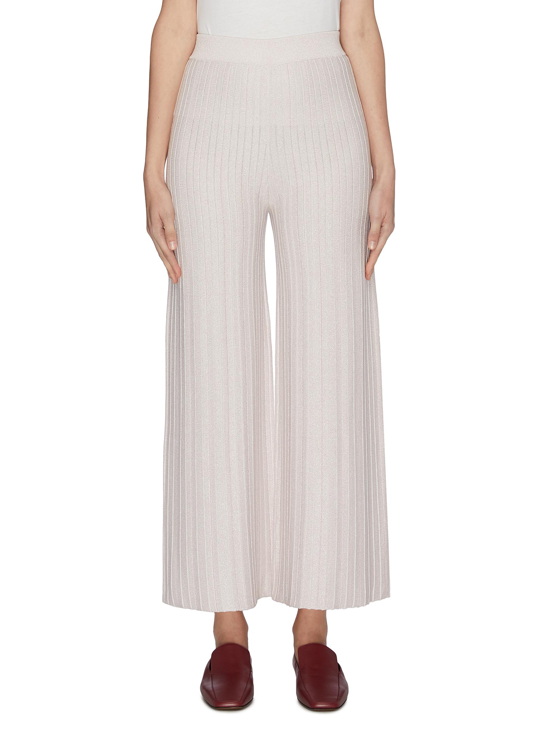 shop Crush Collection Pleated metallic mint silk-cotton blend pants online