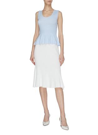 Figure View - Click To Enlarge - CRUSH COLLECTION - Flare ruffle hem rib knit midi skirt