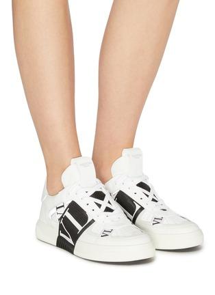 Figure View - Click To Enlarge - VALENTINO - Valentino Garavani logo embossed contrast stripe sneakers