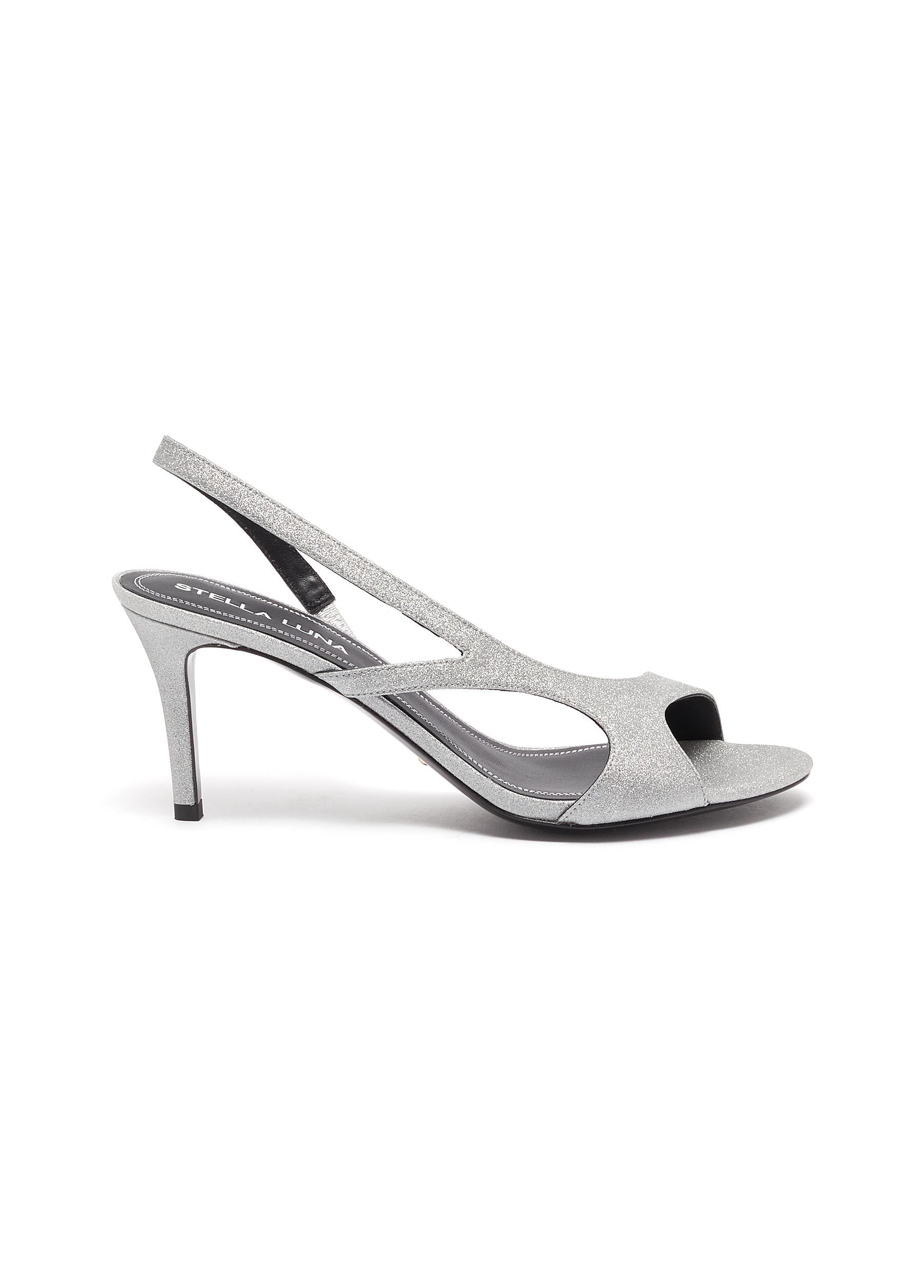 Stella Luna High Heels Asymmetric strap open toe leather sandals
