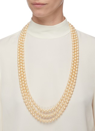 - LANE CRAWFORD VINTAGE ACCESSORIES - Pearl chain diamanté clasp 3 strand necklace