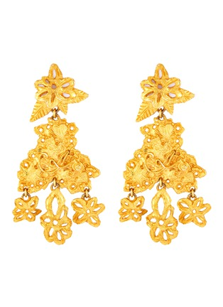 Main View - Click To Enlarge - LANE CRAWFORD VINTAGE ACCESSORIES - Christian Lacroix floral motif dangling earrings