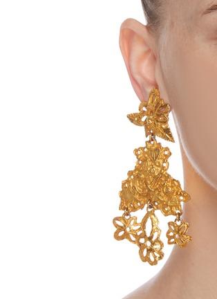 - LANE CRAWFORD VINTAGE ACCESSORIES - Christian Lacroix floral motif dangling earrings