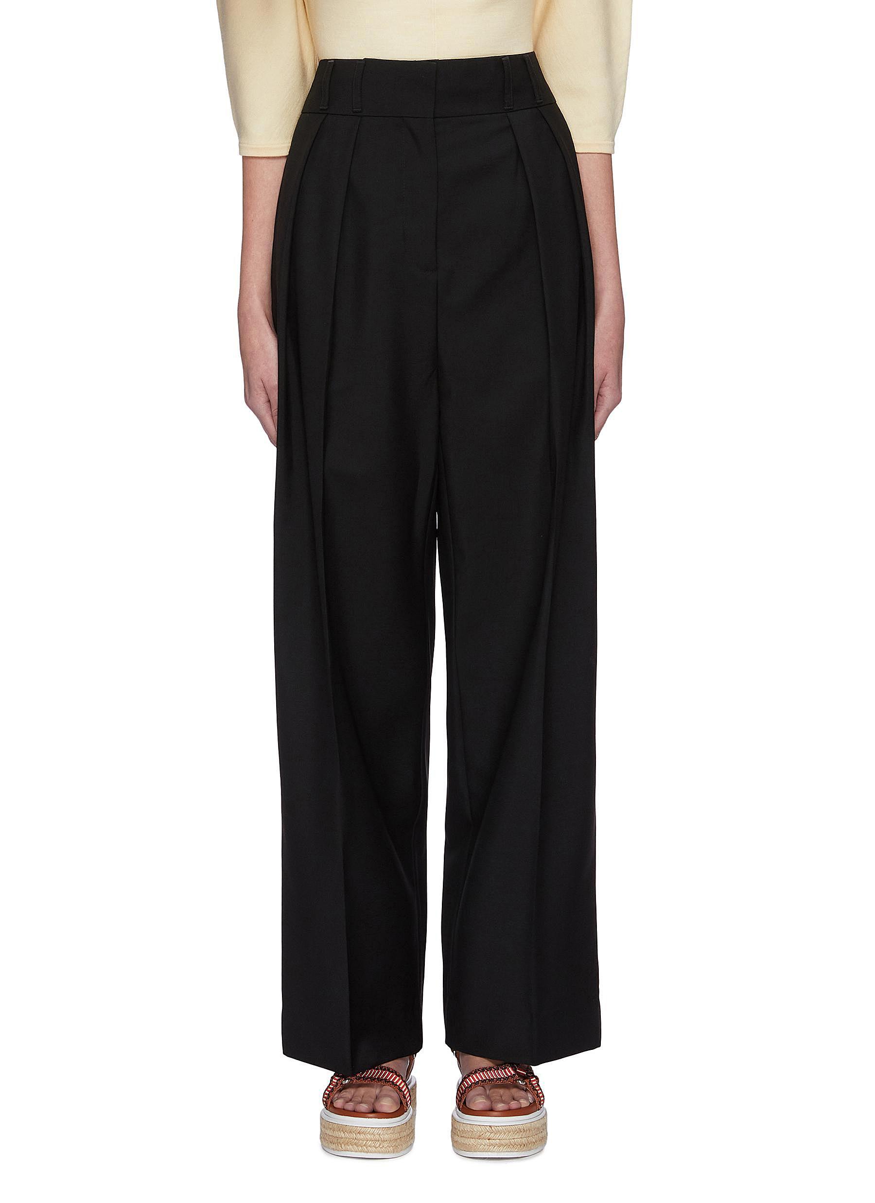 shop Acne Studios Pleated wide leg mohair wool pants online