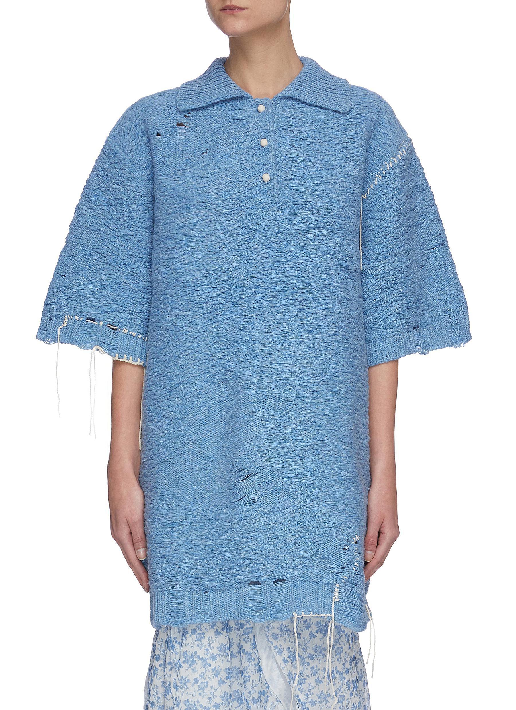 Buy Acne Studios Knitwear Distressed polo neck sweater