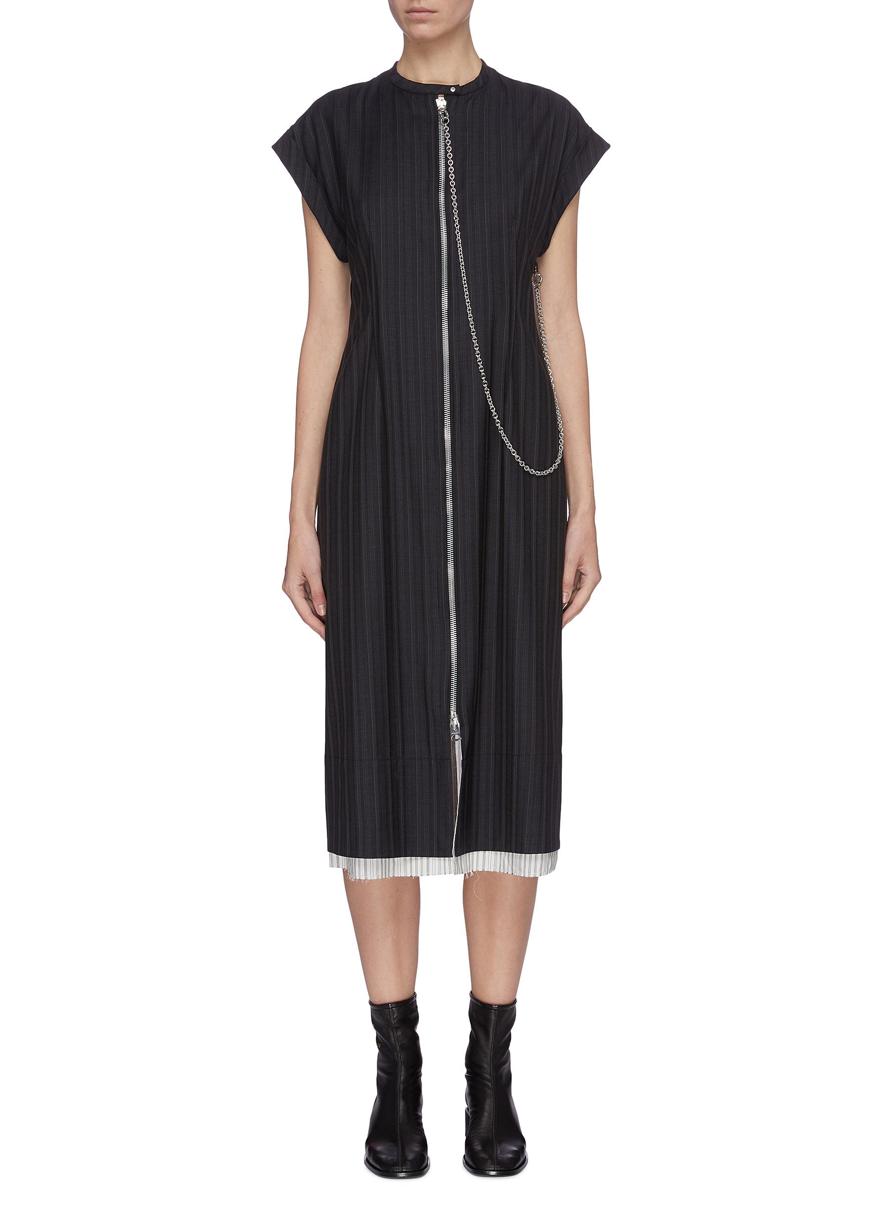 shop Acne Studios Panelled zip front pinstripe midi dress online