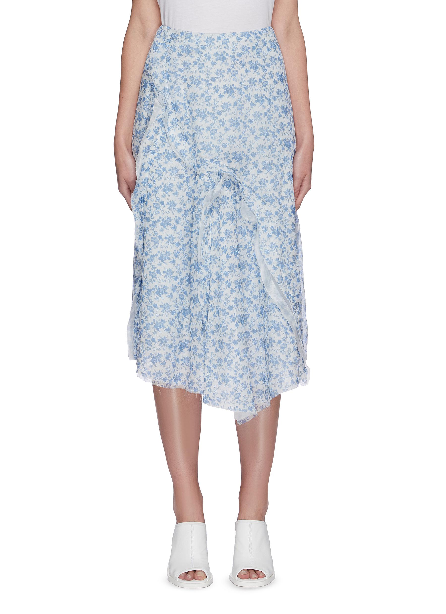 shop Acne Studios Floral print asymmetric flare hem chiffon midi skirt online