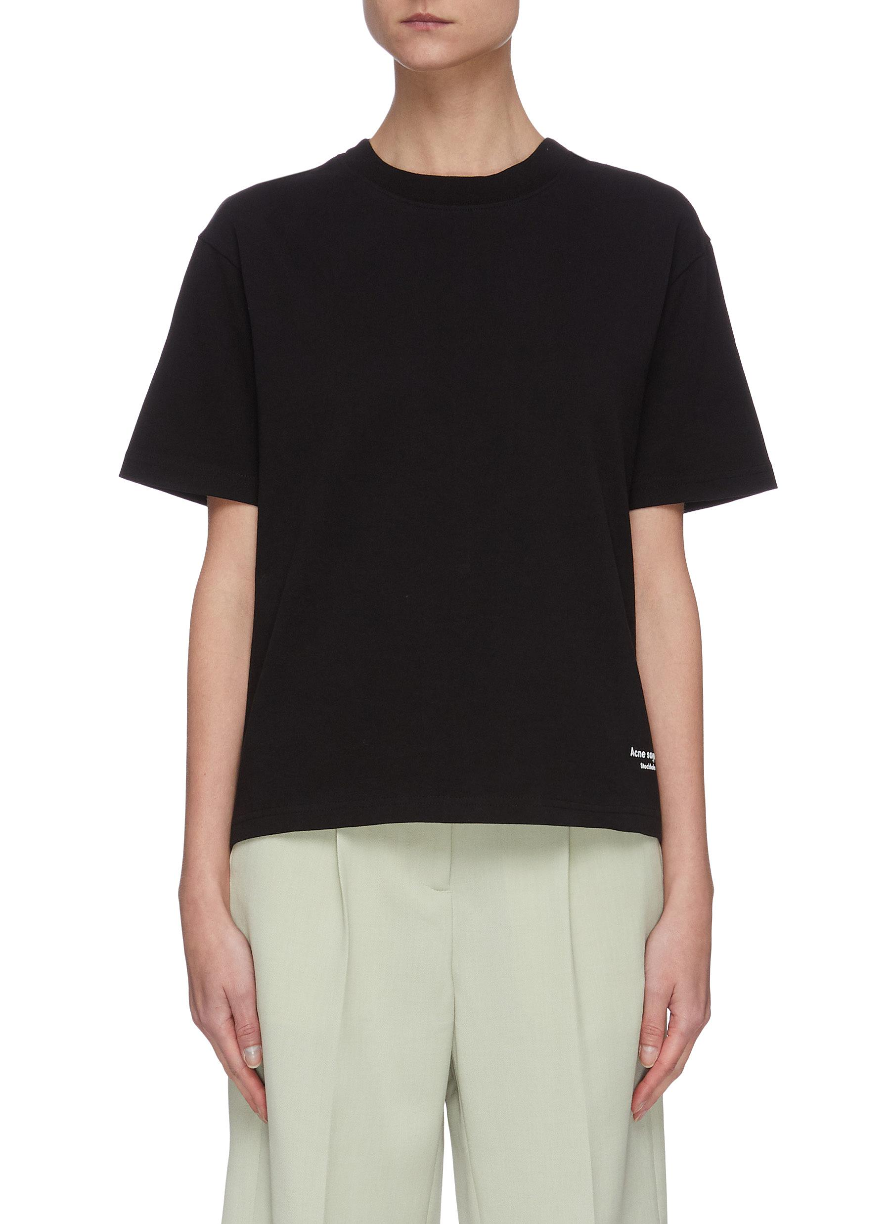 Buy Acne Studios Tops Contrast tape cotton T-shirt